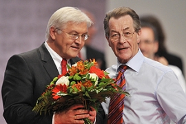 Franz Muentefering, right, SPD chairman, endorses Steinmeier,left, as its candidate for chancellor [AFP]