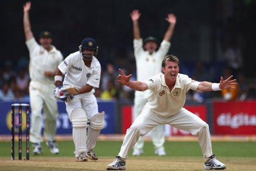Brett Lee unsuccessfully appeals for the wicket of India's Gautam Gambhir in Bangalore [GALLO/GETTY]