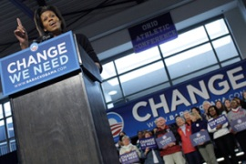 Michelle Obama took her husband's place onthe campaign trail [Reuters]