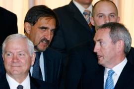 Gates, left, and other Nato leaders met to discuss the war in Afghanistan [Reuters]