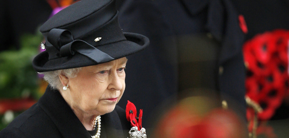 Britain's Queen Elizabeth II joined the annual ceremony at The Cenotaph in London, which this year marked the 90 years since the end of the first world war [AFP]