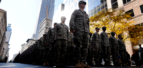 While in New York, members of the US air force march in an annual Veterans Day parade [EPA]
