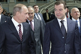 Speculation is rife in Moscow that Medvedev, right, is paving the way for Putin to succeed him [AFP]Speculation is rife in Moscow that Medvedev, right, is paving the way for Putin to succeed him [AFP]