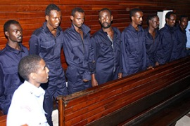 A Kenyan court charged eight Somalis for hijacking a shipping vessel last week  [AFP]
