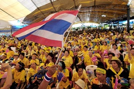 PAD supporters blockaded Bangkok's airports for a week last year in their anti-Thaksin protests [AFP]