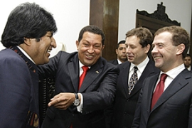 Chavez, second left, said US 'hegemony' was the source of global 'catastrophes' [AFP]
