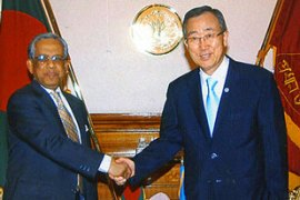 Iajuddin Ahmed, left, has told Ban Ki-moon, right, that the army will not interfere in the elections [AFP]