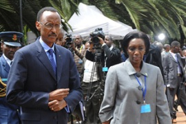 Kabuye, right, is a close political aide toPaul Kagame, Rwanda's president [AFP]