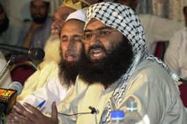 Azhar, right, has not been confirmed by Pakistan's prime minister as among those detained [AFP]