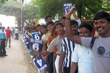 Indian cricket fans queue up outside the Chidambaram Stadium on the first morning of the first Test against England [AL JAZEERA]
