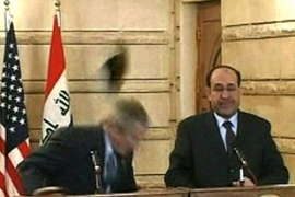 Muntazer al-Zaidi hurled his footwear at Bush during his final visit to Iraq as US president