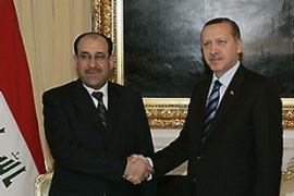 Erdogan, right, and al-Maliki have discussed plans for a joint crackdown on the PKK [AFP]