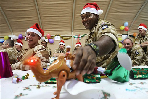 British soldiers celebrated Christmas in their camp in the southern Iraqi city of Basra. [AFP]