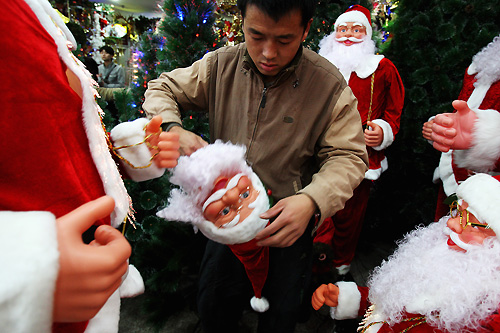 Many Christmas decorations meant for the West stayed in China, with the financial crisis decreasing international demand. [GALLO/GETTY]