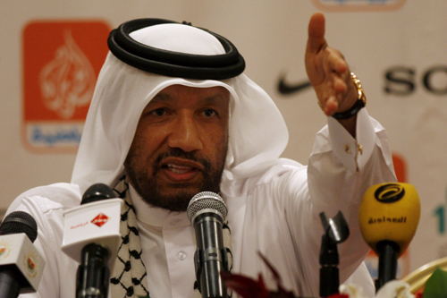 Asian Football Confederation president Mohammed bin Hammam of Qatar talks to the press [AFP]