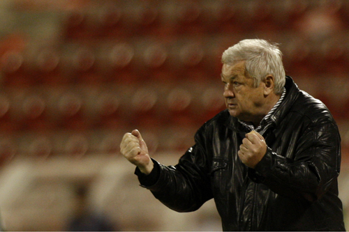 Bahrain's coach Milan Macala enjoys the game [AFP]