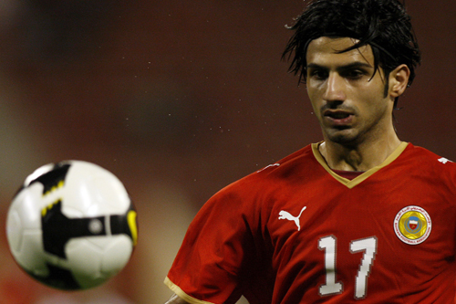 Bahrain's Hussein Ali Baba focuses during the game against Iraq [AFP]