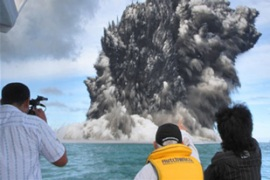 An underwater volcano has been erupting for days off the coast of Tonga without posing any danger [AFP]