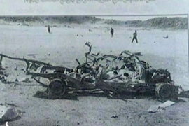 Footage handed to Al Jazeera showed a number of twisted and burned vehicles in the desert