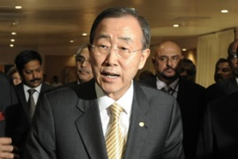 Ban Ki-moon is worried over delays in releasing thousands of Tamil civilians being held in camps [AFP]