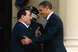 Mubarak, left, and Obama held talks soon after the US president arrived in Cairo [AFP]