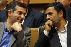 Ahmadinejad, right is struggling with the fallout from his move toappoint Mashaie asvice-president [AFP]