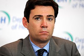 Burnham gave details to parliament about the launch of a national pandemic flu service [EPA]