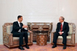 US envoy Mitchell, right, is on his second visitto Syria in as many months [File, EPA]