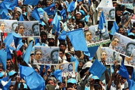 Abdullah Abdullah held a final rally in Kabul [EPA]