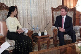 Webb, right, secured Yettaw's release even as Aung San Suu Kyi's detention was extended [AFP]