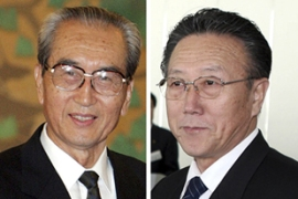Kim Ki-nam, left and Kim Yang-gon, right, two senior North Korean officials, visited South Korea [Reuters]