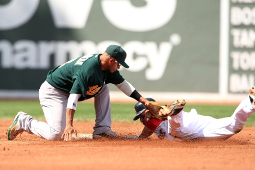 Shortstop Orlando Cabrera tags out Jacoby Ellsbury for the A's against Boston Red Sox [GALLO/GETTY]