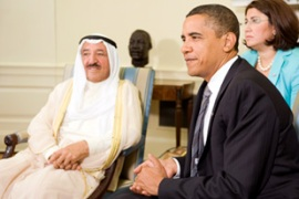 Al-Sabah, left, told Obama that Israel must commit to the Arab plan in order to secure peace [EPA]