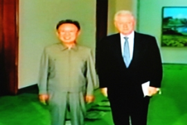Clinton, right, was in North Korea to seek the release of two jailed US journalists [AFP]