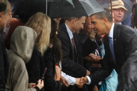Obama met families of those who died in the September 11 attacks [EPA]