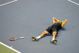 Del Potro fired 37 forehand winners and won two tiebreakers to beat Federer in four hours [AFP]