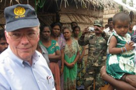 Pascoe, left, urged Colombo to resettle the displaced Tamil civilians as quickly as possible [AFP]