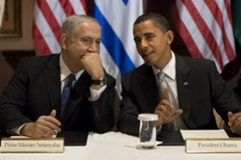 Obama, right, held his first direct meeting with Israeli and Palestinian leaders since taking office [AFP]