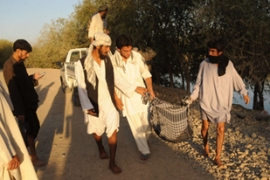The Taliban said civilians who had come out to take fuel from the lorry were killed in the attack [AFP]