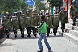 Heavy security has been deployed on the streets of Urumqi since July's riots [AFP]Heavy security has been deployed on the streets of Urumqi since July's riots [