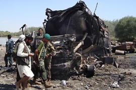 Friday's airstrike was targeted at Taliban fighters who had hijacked two fuel trucks [AFP]