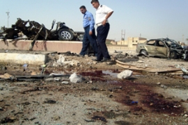 The bomb appeared to target people queuing outside a municipal office in Ramadi [AFP]