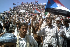 Thousands in the opposition Southern Movement held a rally in the town of Radfan on Wednesday [AFP]