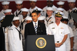 Obama said that he would not risk the lives of US service personnel 'unless necessary' [EPA]