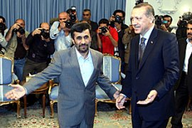 Ahmadinejad, left, thanked Erdogan, right, for his support on Iran's nuclear programme [EPA]
