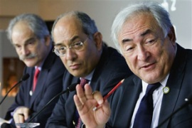 Strauss-Kahn, right, has said there is still 'a big unemployment problem in front of us' [AFP]