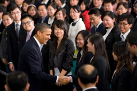 Obama attended a town-hall style meeting with Chinese students in Shanghai [AFP]