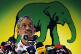 Fonseka, who led the final military offensive against the LTTE, is campaigning for the presidency [AFP]