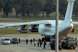 The Ilyushin IL-76 cargo aircraft carrying weapons was seized during a refuelling stop in Bangkok [AFP]