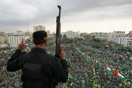 Thousands of Hamas supporters headed to Gaza City for the anniversary rally [AFP]